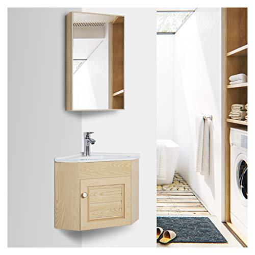 LCF moderne houten badkamer Vanity Set kabinet gehard helder glas schip wastafel Top kom gratis kraan afvoer met spiegel voor huis en keuken