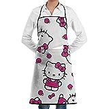 ZXGL Grembiule da cucina regolabile unisex con simpatico Hello Kitty cucina grembiule personalizzato Pocket Bbq