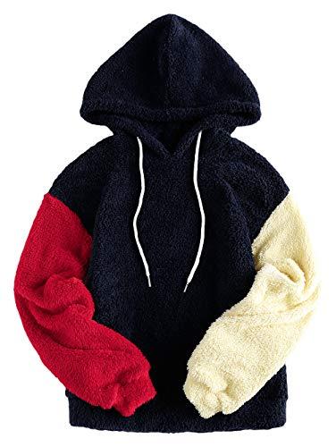 ZAFUL Damen Farbe Block Spleißen Fuzzy Pullover Hoodie Outwear Multi-B M