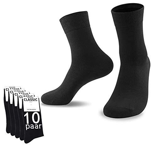 YouShow Socken Herren Damen Unisex Baumwollsocken für Business Komfort-Bund,Schwarz,39-42