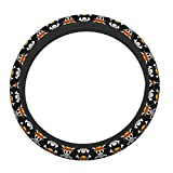 Anime One Piece Skull Auto Steering Wheel Wrap Cover Elasticity Steering Wheel Protector Case Odorless Auto Car Accessories Neoprene Universal 15 Inche for Most Cars SUV Trucks Van