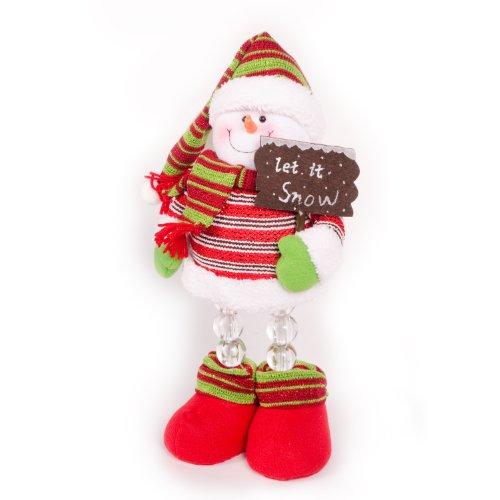 WeRChristmas Beleuchteter Schneemann, 45cm, LED, leuchtende Beine, Weihnachtsdekoration
