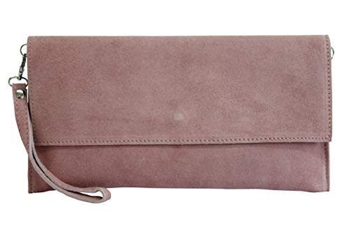 AMBRA Moda WL811 - bolsa de embragues, envelope clutch, carteras de mano de ante genuino para mujer (rosa oscuro)