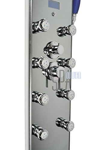 "Blue Ocean 52"" Aluminum SPA392M Shower Panel Tower with Rainfall Shower Head, 8 Multi-functional Nozzles"