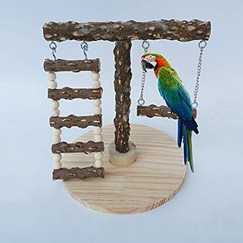 YAOYAN Perchoir Perroquet,Perchoir Oiseaux,Perchoir Perruche,Support De Perche D'oiseau en Bois Naturel avec Jouet De Meulage De Griffe D'oscillation D'échelle De Jeu De Cage De Base