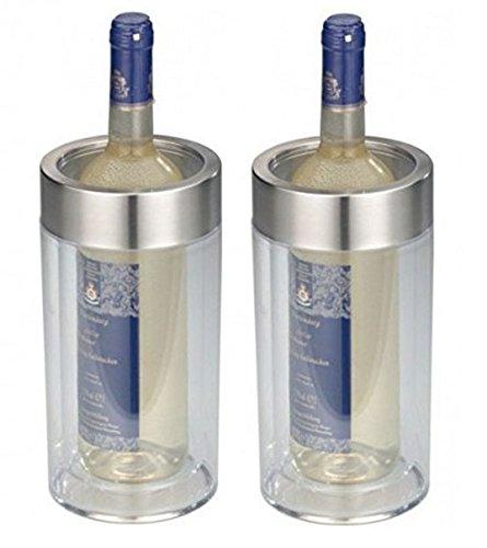 2er SET - Transparenter Flaschenkühler im eleganten Design - Doppelwandig, bruchsicher, elegant - Kunststoff Flaschen Kühler mit breitem Edelstahl - Höhe 23cm, Durchmesser 11,5 cm (2x Transparent)