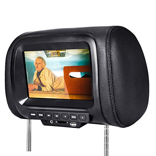 YOUKUKE Auto-Kopfstützen DVD-Player, 7-Zoll HD Monitor MP5 Player Auto Kopfstützen Kissen, Multimedia Video Player mit USB/SD Port