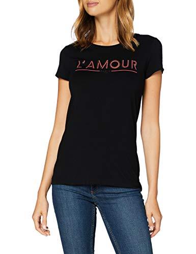 Morgan Tshirt Message Amour Drisa Camiseta, Negro, TL para Mujer