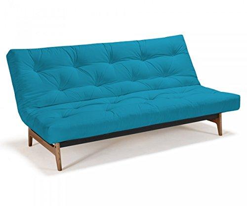 Futonsofa Aslak - Schlafsofa 140 x 200 cm mit Futon & Lattenrost, Farbe und Futon wählbar, Futonfarbe:Himmelblau, Futonauflage:Futon Nagaoka Latex