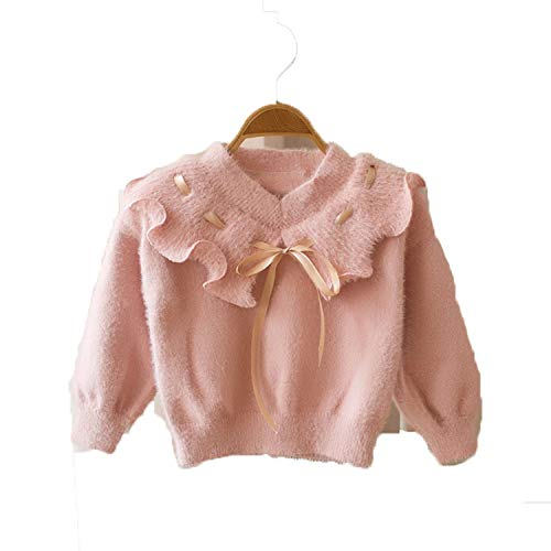 Girls Sweater Autumn and Winter Loaded Lotus Leaf Collar Baby Velvet Top Candy Color Sweater Baby Kids Clothing pink 12M