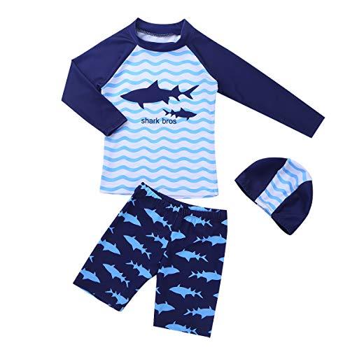 YiZYiF Costume da Bagno Completo Piscina Bimbi Bambini 3 PCS Maglia + Pantaloncini + Swimming cap Stampato Animale Squalo Costume per Mare e Piscina Nuoto Gara Blu 3-4Anni