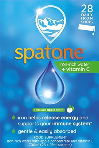 Spatone Natural Liquid Iron Supplement Apple Flavour With Vitamin C, 28 Sachets, 1 Pack Of 28