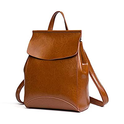 JeHouze Fashion Women Anti-Theft Shoulder Handbag Genuine Leather Backpack Casual Bag(Brown), Medium