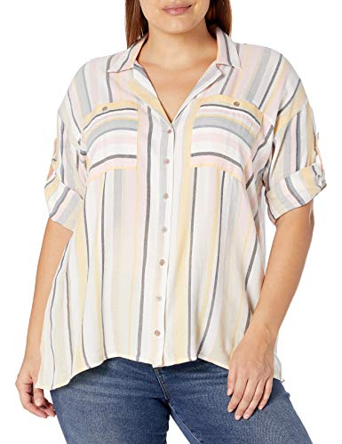 Vintage America Blues Women's Plus Size Winona Stylish Tie Front Button Up Shirt, Joel Stripe Micro Chip, 2X