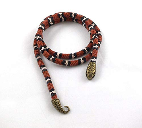 Long beaded rope necklace with coral snake skin print,bead necklace for Halloween party