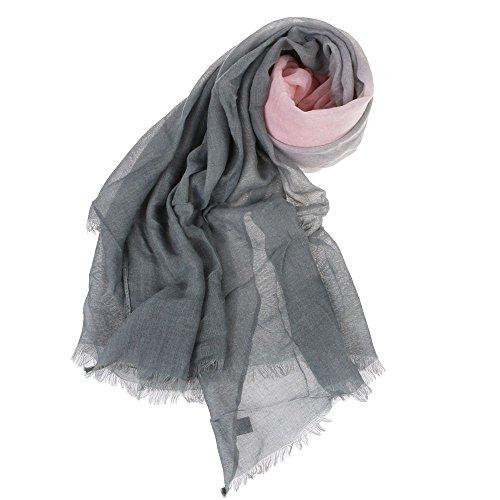 VANKER Neuf Femmes Graduel Souple Foulard Voile Longue Écharpe Étole de Fourrure Châle(Rose Gris)