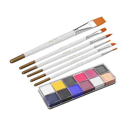 Aibecy Set di pittura per il viso oleosa solida, 12 colori igment Greasepaint Kit con 6 pennelli per pennelli Safe Body & Face Paint Facepaint Bodypaint Art Supplies per Halloween Makeup