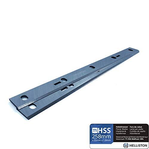 HSS Wolfram 18% Hobelmesser 254/258 x 22 x 1,8 mm, für Scheppach HMS 1070, HMS1080, Bernardo PT-250, Kity DRA 260, Holzstar ADH 250 (2 Hobelmesser)
