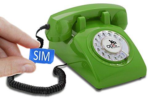 Opis 60s Mobile - Retro Tischhandy in Form eines sechziger Jahre Telefons mit Wählscheibe und Metallklingel (grün)