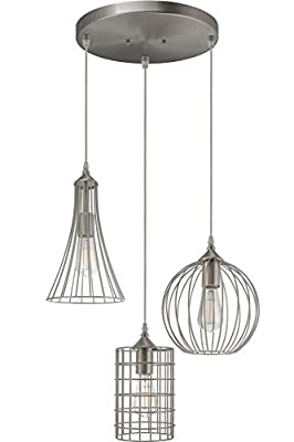 """Kira Home Wyatt 11.5"""" Modern Industrial 3-Light Cluster Pendant Chandelier + Wire Cage Metal Shades, Customizable Height, Brushed Nickel Finish"""