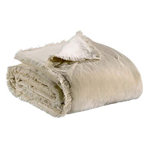 Vivaraise - Plaid Fara – 150x200 cm – Couverture d'appoint Chaude, jeté de canapé Doux – 100% Velours de Coton – Couvre-lit cocooning – Finition à Franges