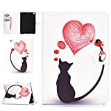 Jorisa Tablet Case Compatible with iPad Air(iPad 5)/iPad Air 2(iPad 6),Slim Leather Magnetic Smart Auto Wake/Sleep Cover Flip Folio Stand Wallet Case with Card Slots,Love Heart Cat