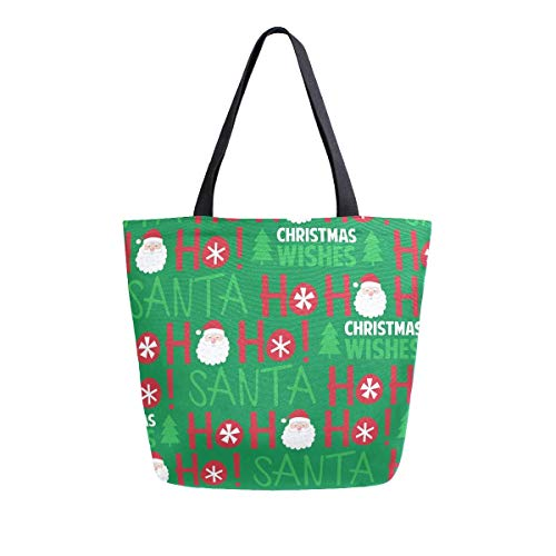 Santa and Ho Design Canvas Tote Bag Top Handle Purses Large Totes Reusable Handbags Cotton Shoulder Bags for Women Travel Work Shopping Grocery