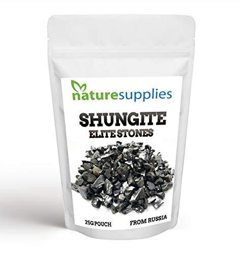 naturesupplies Shungite Elite Stone Chips, aspecto de plata metálica Shungite de élite para filtrar agua y desintoxicación de limpieza, auténtico shungite de Karelia, Rusia (25 g)