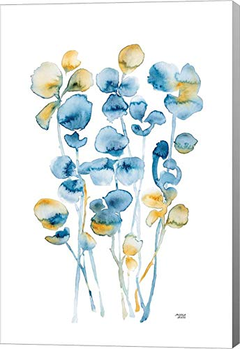 Blue and Gold Watercolor Floral by Andrea Bijou Canvas Art Wall Picture, Gallery Wrap, 12 x 18 inches