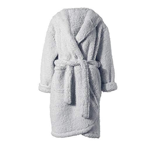LRJZFX Frauen Bademantel Damen Bademantel Herbst und Winter Damen Nachthemd Bademantel Dicke warme Pyjama-Grey_One Größe