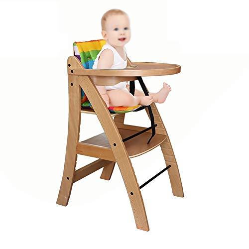 Chaises hautes Bébé en Bois avec Plateau, 11 Vitesses Réglables en Hauteur, Portable pour Enfant (Couleur : Couleur du Bois)