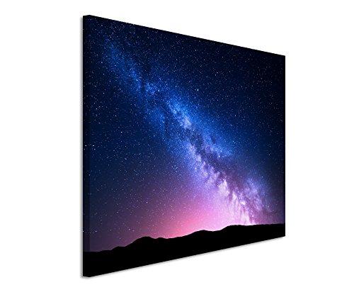 Paul Sinus Art XXL Fotoleinwand 120x80cm Landschaftsfotografie – Milchstraße im pinken Sternenhimmel auf Leinwand Exklusives Wandbild Moderne Fotografie für ihre Wand in vielen Größen