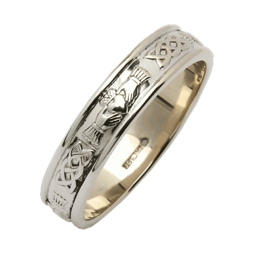 Ladies Claddagh Wedding Ring Narrow Made In Ireland Sterling Silver Intricate Claddagh Design Around 1/8' Band Made By Maker-Partner Fado in Co. Wicklow, Ireland Size 6