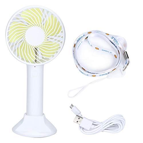 WEILafudong Mini ventilador portátil, mini ventilador de mano, ventilador de escritorio portátil, ventilador de carga USB con soporte para oficina en casa (blanco)