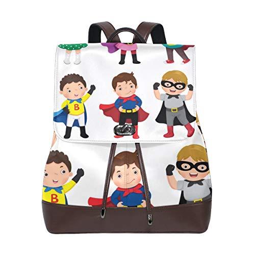 MIGAGA Jungen-Mädchen-Superheld-Kostüme auf Weiß,PU Leder Rucksack College Chool Rucksack Studenten College Bag Reisen Wandern Camping Taschen