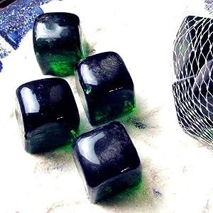 Verde 6 piezas hecho a mano de cristal de Murano verde claro geométrico diseño cubo pecera manualidades adornos acuario fondo accesorios