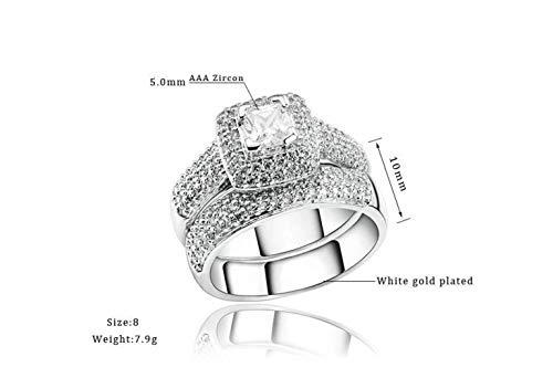 Thumby Zircon Set Ring met Diamond-Plated Wit Goud en Zilveren Ring, Steen, Vrouwelijk, Klassiek, Party Double Ring, Embedded Wall Mount, Geometry, R149, Aaa Zircon, Wit & Platinum, US 8