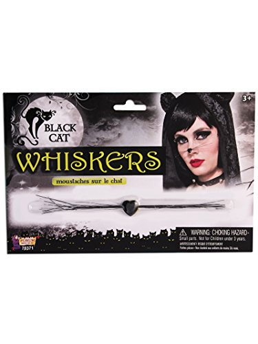 Forum Novelties 78371 Black Cat Whiskers, One Size, Pack of 12