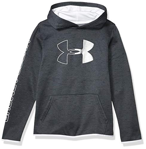 Under Armour Boys' Armour Fleece Hoodie, Black (001)/White, Youth X-Large