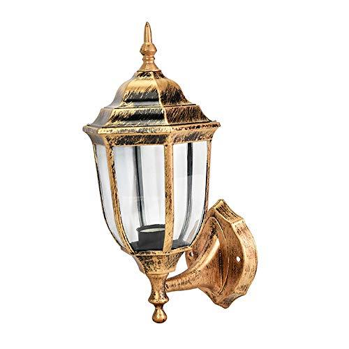 Wandlamp - Waterdichte tuinlamp voor buiten antieke tuinverlichting - Europese kleine gebogen zeshoekige wandlampen - zwart/messing - E27 lampenkop
