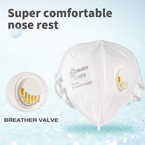 AOSANITY FFP3 Atemschutzmasken mit Luftventil – EN 149: 2001 + A1: 2009 Zertifiziertes, mehrschichtiges System mit hoher Filtrationskapazität Zusätzlicher Komfort und Sicherheit (10er-Pack) - 2