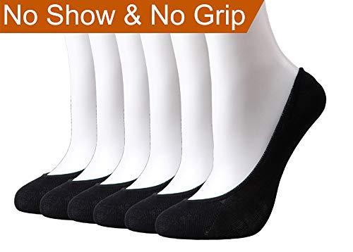 HeyUU Womens Bamboo Non Slip No Show Invisible Liner Socks 6-Pack (Shoe Size 6-10, 6Pairs-Black)