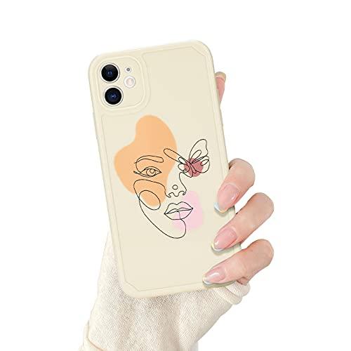 Newseego Carcasa per iPhone 11(6.1''),Disegno della Linea Artistica del Volto Umano[Farfalla] Copertura del Telefono per iPhone 11 Case Protettivo Cover Posteriore in Morbido Silicone per iPhone 11