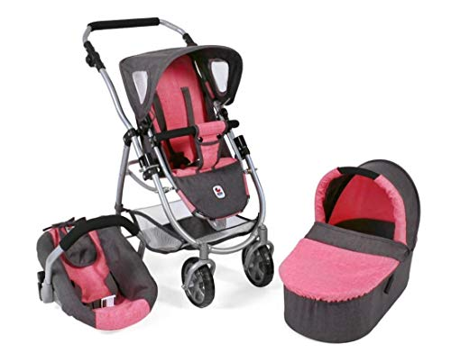 Bayer Chic 2000 637 41 Kombi-Puppenwagen Emotion 3-in-1 All In, Melange anthrazit-pink