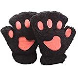 Cat Paw Gloves Cute Kitten Furry Paws Costume Winter Fingerless Mitten Glove for Kids Women (Black)