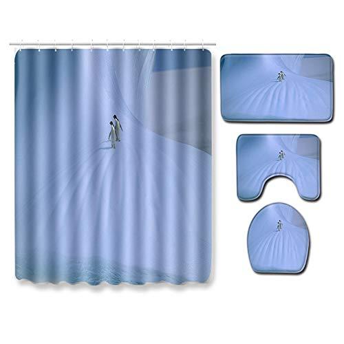Boyouth Duschvorhang-Set mit Pinguine im Schnee, Digitaldruck, mit Badematte, Konturvorleger, WC-Deckelbezug für Badezimmerdekoration, 4 Stück