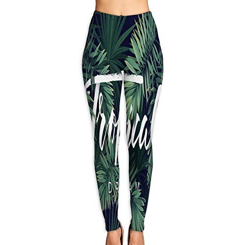 YMWEI Donna Pantaloni Yoga Design Tropicale Estivo per Banner o volantino con Foglie di Palma Verde...