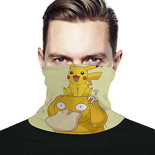 Best-design Pikachu Psyduck - Máscara facial bandanas a prueba de viento, bufanda para cuello, pasamontañas para polvo, exteriores, festivales, deportes, color negro