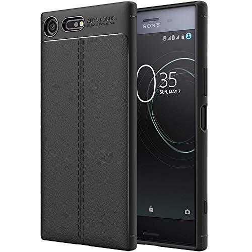 ebestStar - Cover Compatibile con Sony Xperia XZ Premium, XZ Premium Dual Custodia Protezione Silicone Gel TPU Morbida e Sottile con Pelle Design, Nero [Apparecchio: 156 x 77 x 7.9mm, 5.46'']