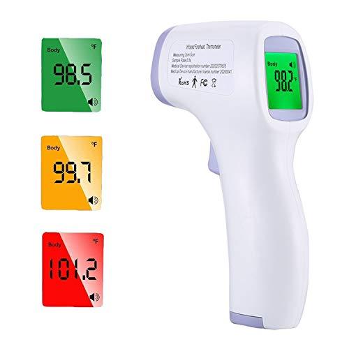 Fieberthermometer Kontaktlos Berührungsloses Thermometer Baby, Digitales Thermometer mit LCD-Anzeige, Fieberalarmsystem, Stirnthermometer für Erwachsene und Kinder